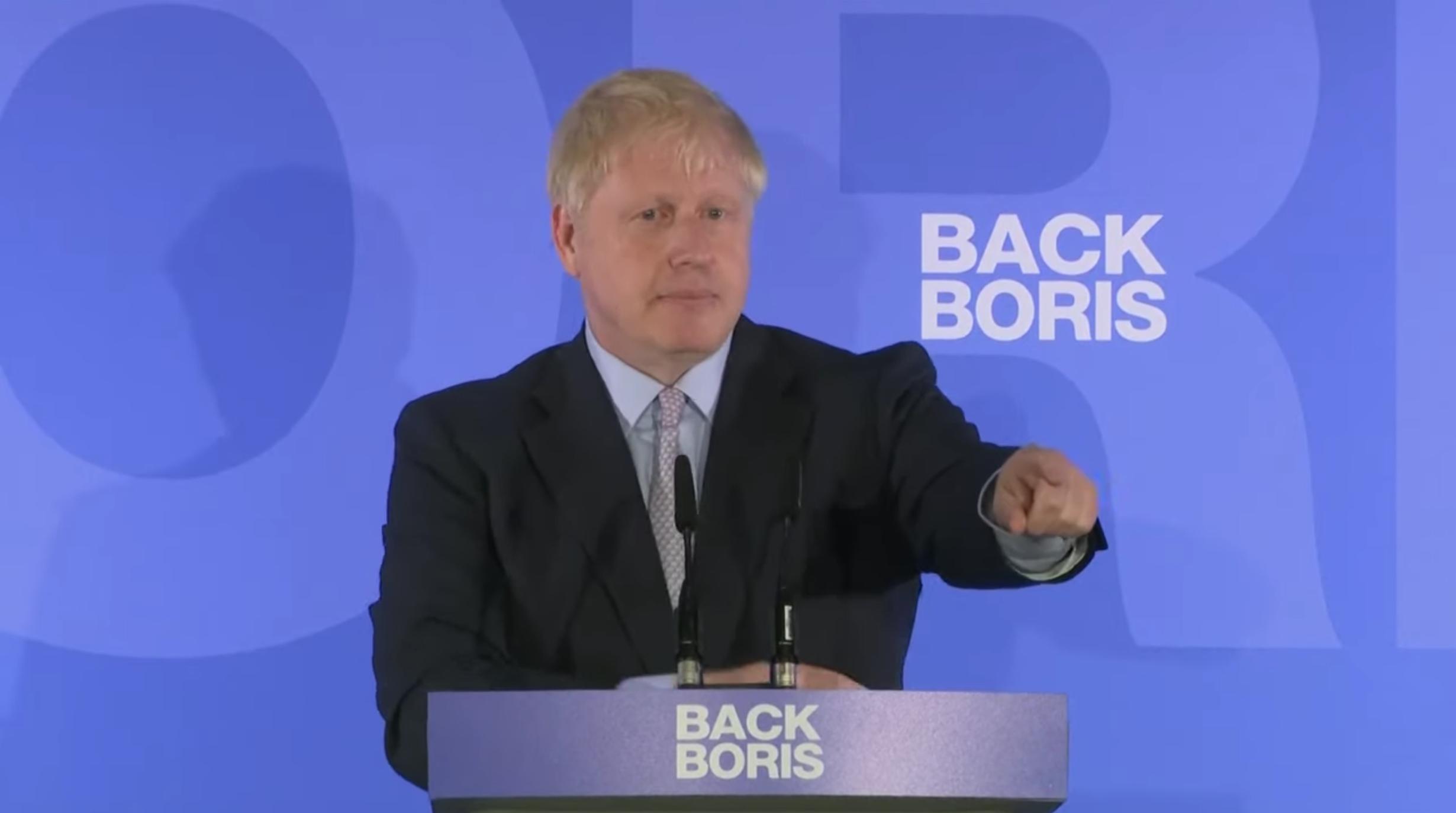 Boris Johnson à la conférence de presse pour le lancement de sa campagne pour le 10 Downing Street (élection à la tête des Tories)
